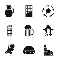 Attractions of Holland icons set simple style vector