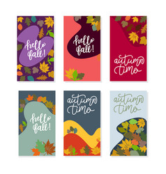 autumn social media stories and post template set vector image