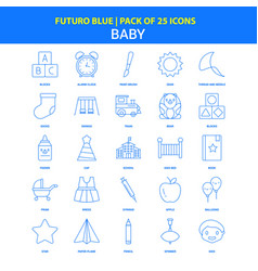 baby icons - futuro blue 25 icon pack vector image
