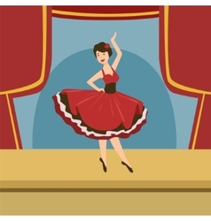 Ballerina In Stylized Spanish Dress Solo Dance vector
