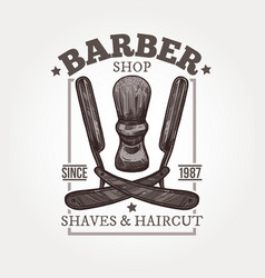 barber shop sketch vintage emblem vector image