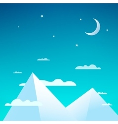 Beautiful night with snowy mountains vector