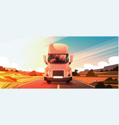 Big semi truck trailer driving on coutryside road vector