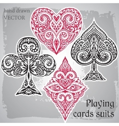 Black and red playing card suits ornamental vector
