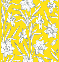 Botanical seamless pattern with silhouette of vector