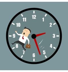 Businessman racing against clock vector
