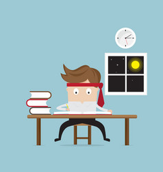 Businessman working hard in night vector