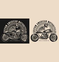 cafe racer motorcycle vintage emblem vector image