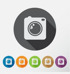 Camera icons set with long shadow flat style vector