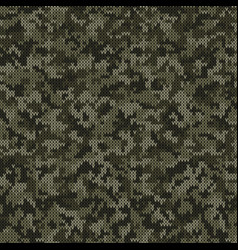camouflage style knitted pattern in dark green vector image