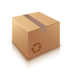 Cardboard box on white background vector