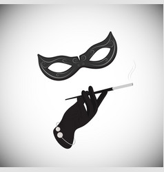 carnival mask hand cigarette in the mouthpiece vector image vector image