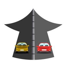 Cars on big arrow - street vector