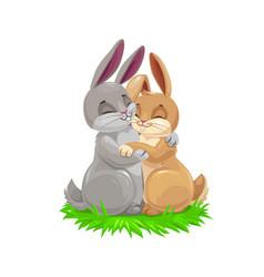Cartoon bunny couple easter holiday vector