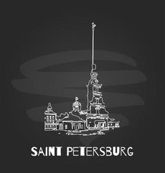 Chalkboard saint petersburg hand drawn poster vector