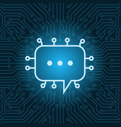 Chat bubble icon over blue circuit motherboard vector