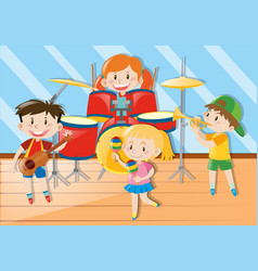 children playing music together vector image