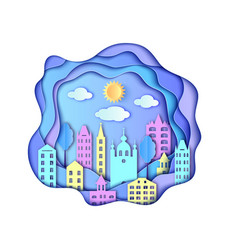 citysun and clouds vector image