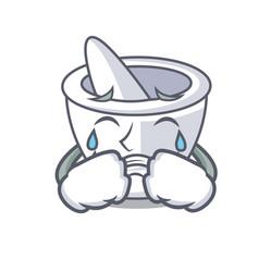 Crying mortar mascot cartoon style vector