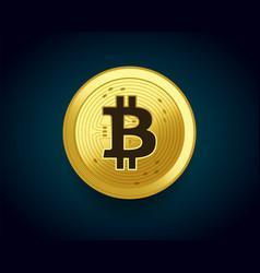 Crypto currency golden coin of bitcoin vector