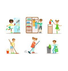 Cute children doing housework set boys and girls vector