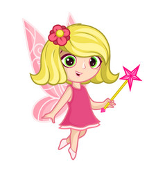 Cute little fairy with big eyes and wings vector