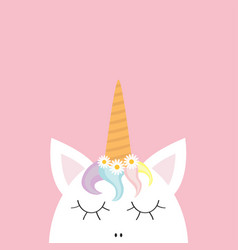 Cute unicorn head face rainbow hair white daisy vector