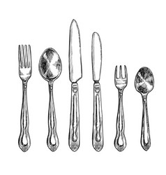 Cutlery freehand pencil drawing set vector