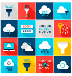 data computing colorful icons vector image