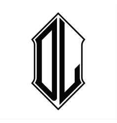 Dl logo monogram with shieldshape and outline vector