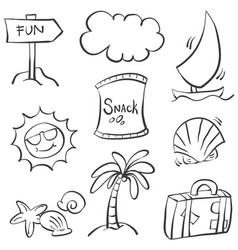 doodle summer element hand draw vector image