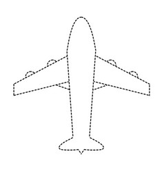 Dotted shape airplane travel transport in the sky vector