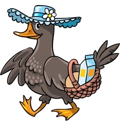 Duck in hat with basket vector
