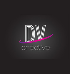dv d v letter logo with lines design and purple vector image