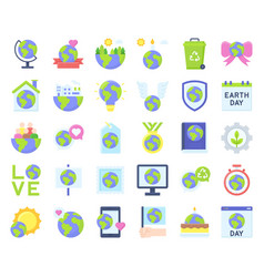 Earth day related icon set 2 flat style vector