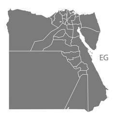 Egypt governorates map grey vector
