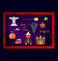 element for halloween day with pumpkin man wears vector image
