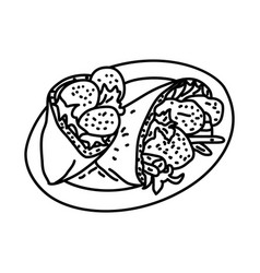 Falafel icon doodle hand drawn or outline icon vector
