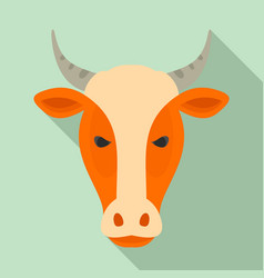 Farm cow head icon flat style vector