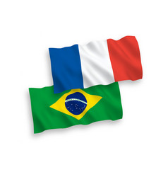 Flags france and brazil on a white background vector