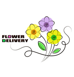 flowers delivery beautiful silhouette vector image