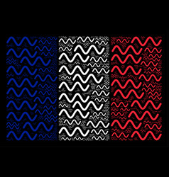 French flag pattern of sinusoid wave symbols vector