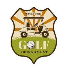 Golf tournament shield emblem with car vector