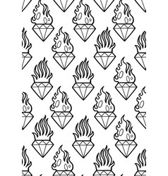 Graphic flaming gemstones vector