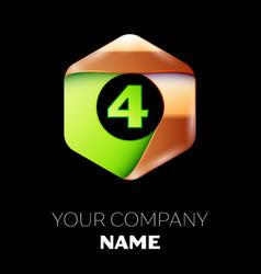 green number four logo in golden-green hexagonal vector image
