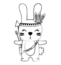 Grunge cute rabbit animal with feathers and arrows vector