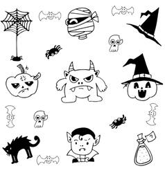 Halloween monster pumpkins in doodle vector