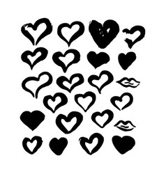 Hand drawn ink brush hearts vector