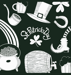 hand drawn st patricks day design template vector image
