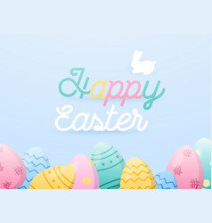 happy easter greeting card easter eggs composition vector image